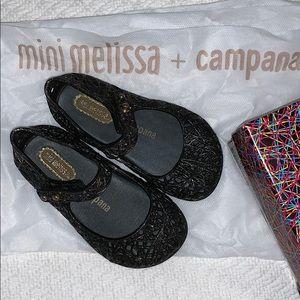 Mini Melissa black/silver glitter Mary Janes